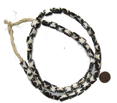 Star Design Batik Bone Beads (Small) - The Bead Chest