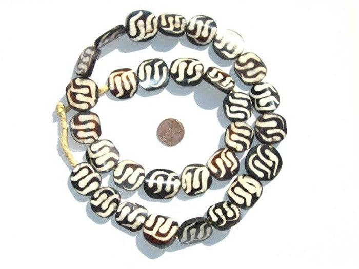 Swirl Design Batik Bone Beads (Circular) - The Bead Chest