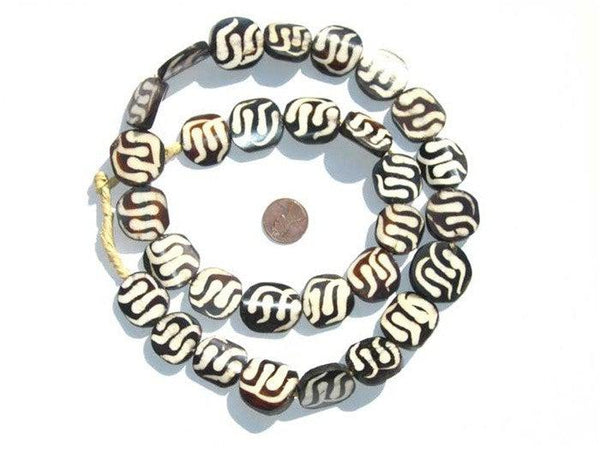 Swirl Design Batik Bone Beads (Circular)