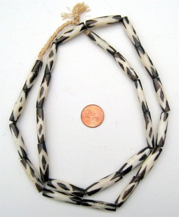 Star Design Batik Bone Beads (Elongated) - The Bead Chest