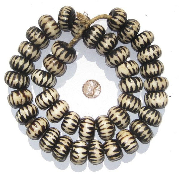 Chevron Design Batik Bone Beads (Large)