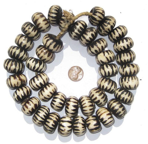 Image of Chevron Design Batik Bone Beads (Large) - The Bead Chest