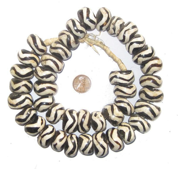 Wave Design Batik Bone Beads (Large)