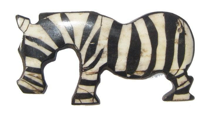 Batik Bone Zebra Pendant - The Bead Chest