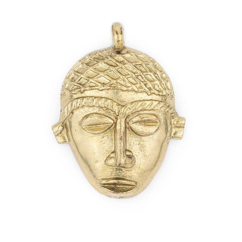 African Brass Mask Pendant (75x55mm) - The Bead Chest