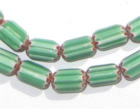 Five Layer Green Chevron Beads (11x7mm) - The Bead Chest