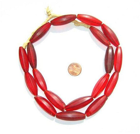 Red Transluscent Bohemian Fulani Glass Beads (Matte) - The Bead Chest