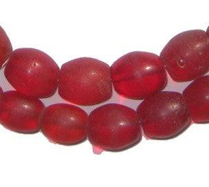 Old Bohemian Glass Red Oval Beads - The Bead Chest