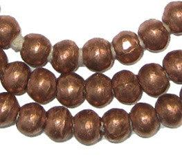 Round Brass Ethiopian Beads 8mm African Large Hole 28 Inch Strand Handmade