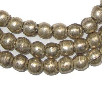 Image of Round White Metal Ethiopian Beads (8mm) - The Bead Chest