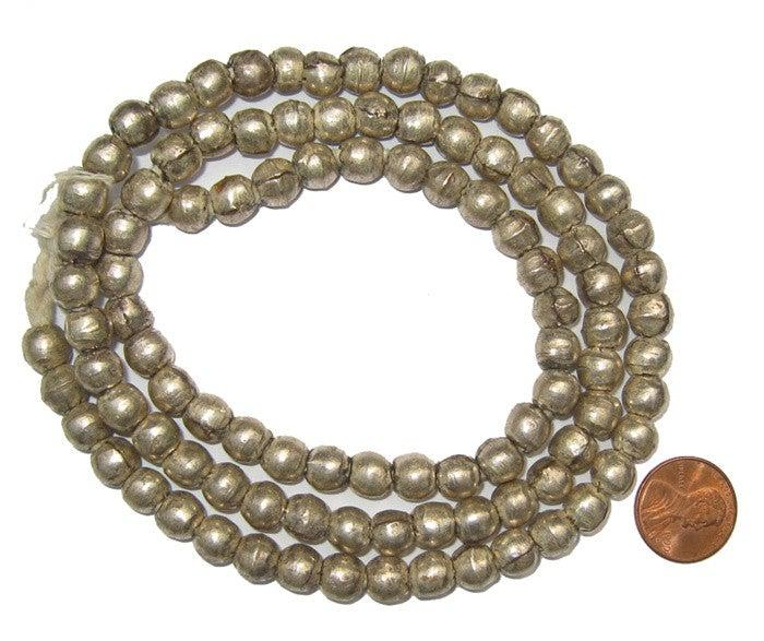 Round White Metal Ethiopian Beads (8mm) - The Bead Chest