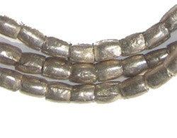 Ethiopian White Metal Plate Cylinder Beads - The Bead Chest