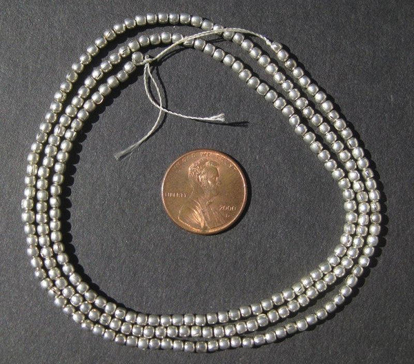 Silver Color Round Small  Ethiopian Beads