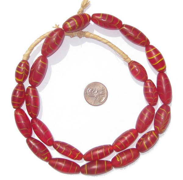 Red Transluscent Feather Glass Beads