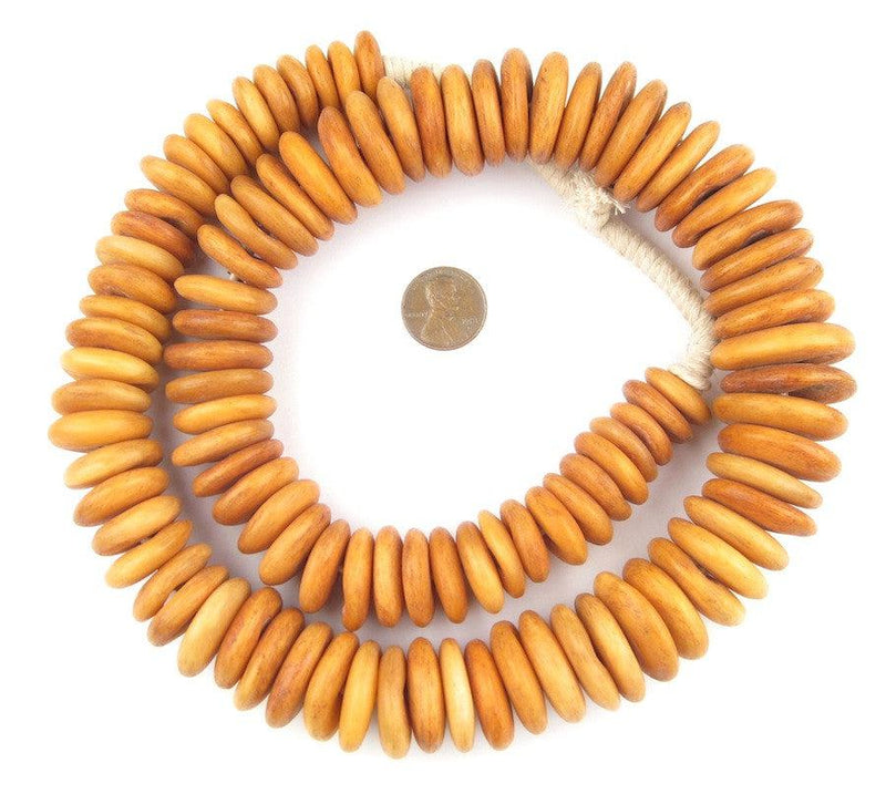 Graduated Amber Camel Bone Disk Beads - The Bead Chest