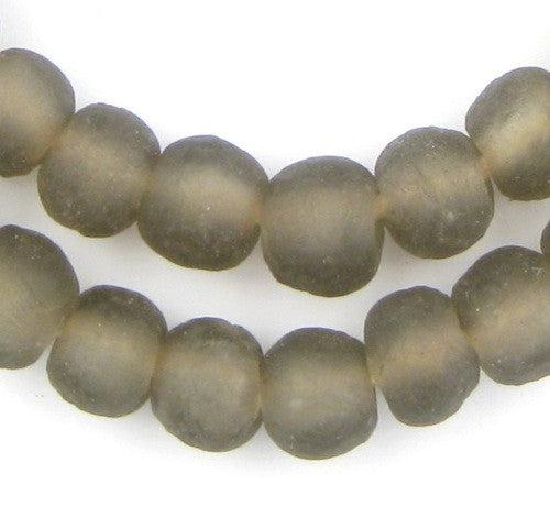 Groundhog Grey Recycled Glass Beads (11mm) - The Bead Chest