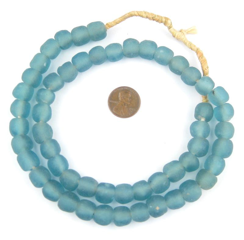 Light Blue Recycled Glass Beads (11mm) - The Bead Chest