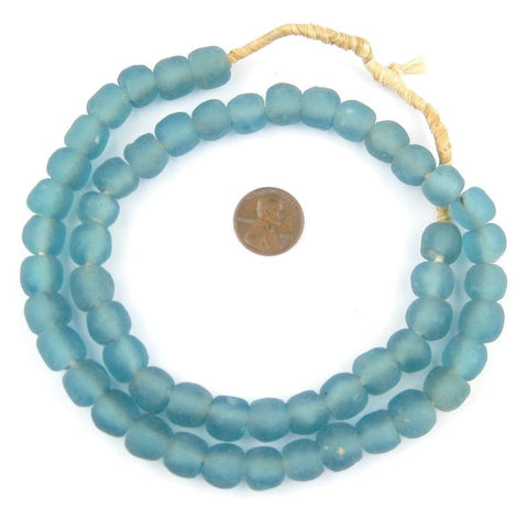 Image of Light Blue Recycled Glass Beads (11mm) - The Bead Chest