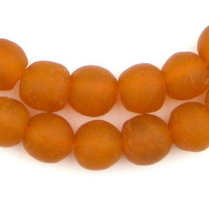 Orange Recycled Glass Beads (14mm) - The Bead Chest