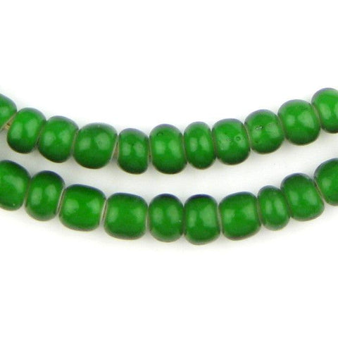 Green White Heart Beads (8mm) - The Bead Chest