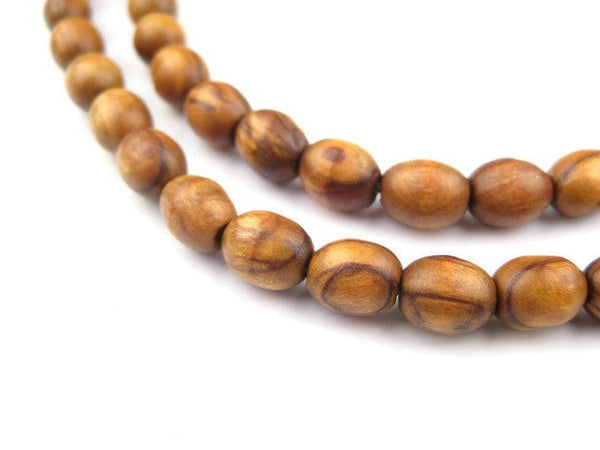 Vintage-Style Rosary Olive Wood Beads from Bethlehem (9x7mm)