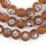 Amber Glass Spherical Eye Beads (12mm) - The Bead Chest