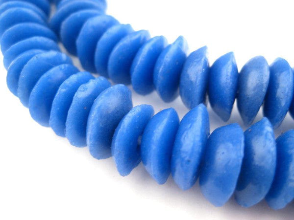 Cobalt Blue Ashanti Glass Saucer Beads