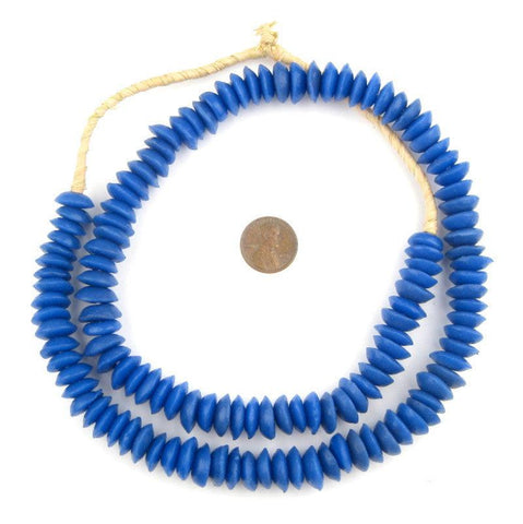 Image of Ocean Blue Ashanti Glass Saucer Beads - The Bead Chest