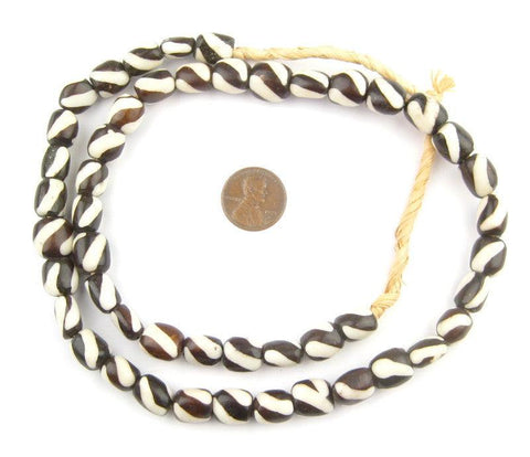 Spiral Design Batik Bone Beads (Small) - The Bead Chest