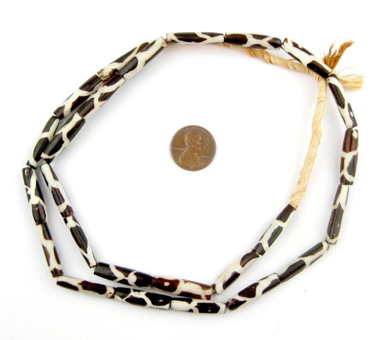 Giraffe Design Batik Bone Beads (Elongated) - The Bead Chest