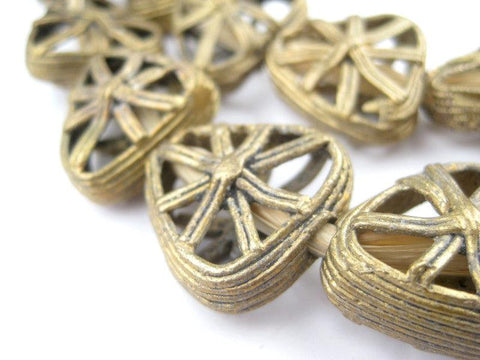 Image of Triangle Pinwheel Ghana Brass Filigree Beads - The Bead Chest