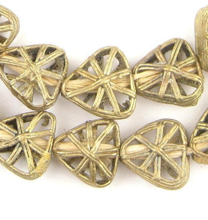 Triangle Pinwheel Ghana Brass Filigree Beads - The Bead Chest