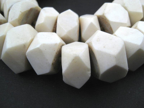 Faceted White Bone Beads (Large)