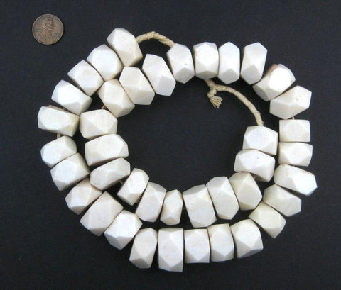 Image of White Bone Beads (Faceted) - The Bead Chest