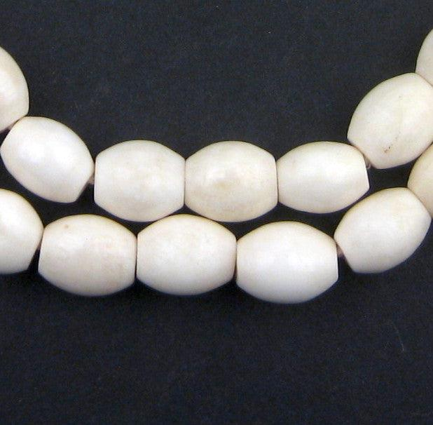 White Nigerian Camel Bone Oval Beads (13x12mm) - The Bead Chest