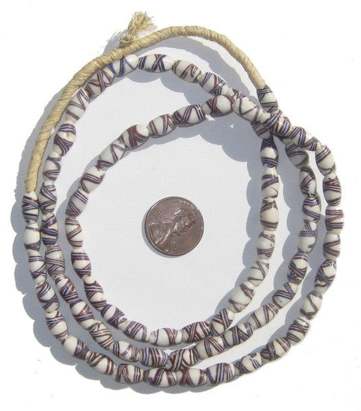 White Venetian French Cross Trade Beads (Long Strand)