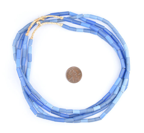Image of Fulani Funeral Beads - Blue Russian Tube Glass Beads - The Bead Chest