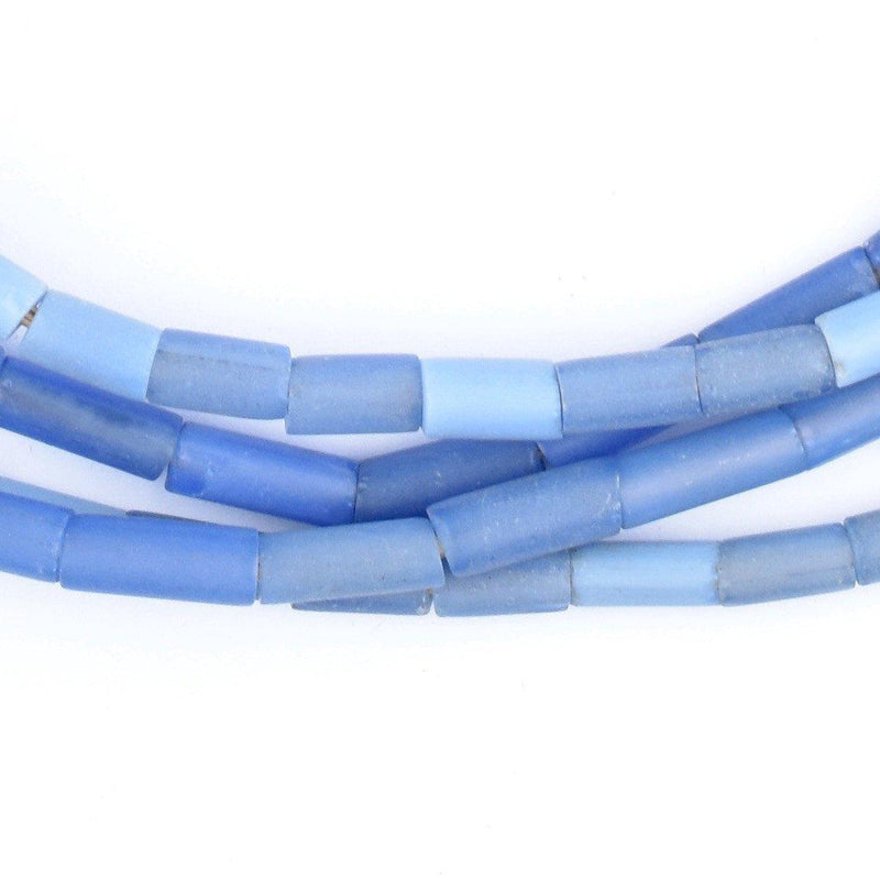 Fulani Funeral Beads - Blue Russian Tube Glass Beads - The Bead Chest