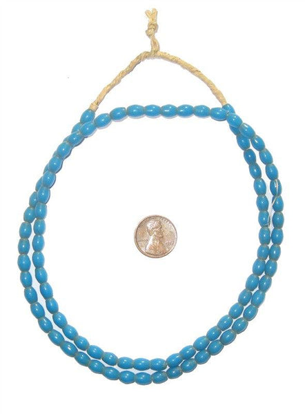 Turquoise Ghana Glass Rice Beads