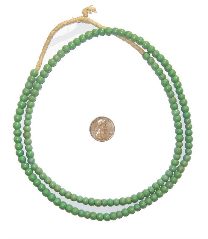 Pistachio Green Ghana Glass Beads - The Bead Chest