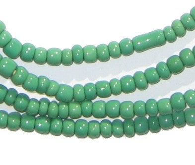 Green Ghana Glass Beads (2 Strands) - The Bead Chest