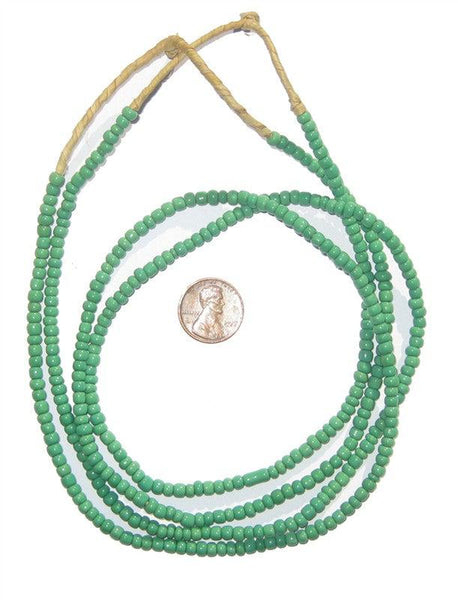 Aqua Green Glass Beads (2 Strands) - The Bead Chest