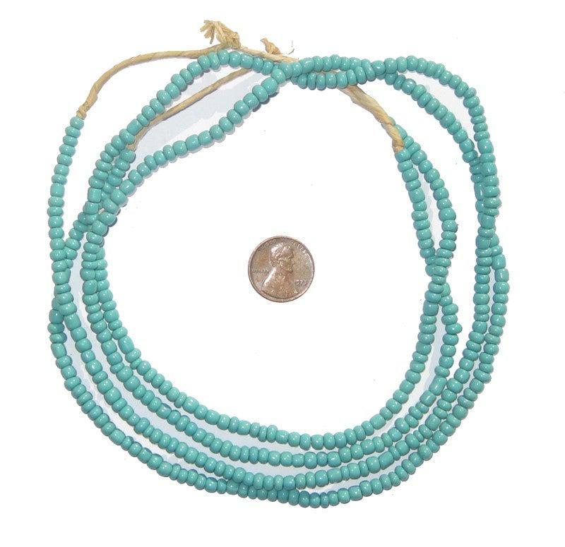 Light Blue Glass Beads (2 Strands) - The Bead Chest