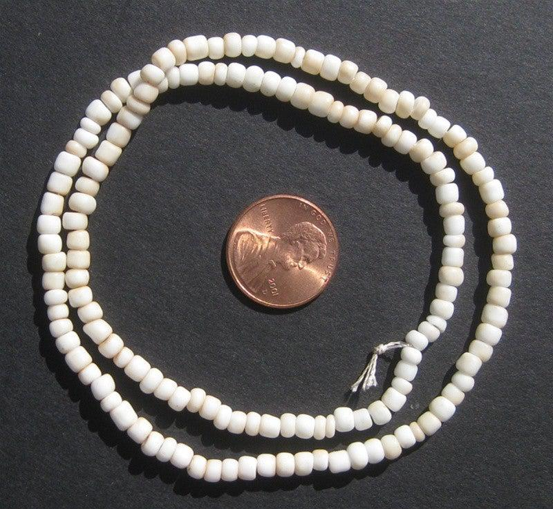 Small White Goomba Glass Beads (3 strands) - The Bead Chest