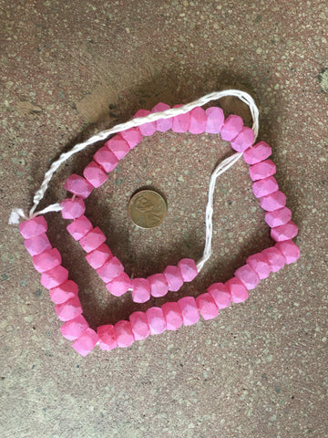 Image of Hot Deal: Painted Pink Faceted Java Recycled Glass Beads - The Bead Chest