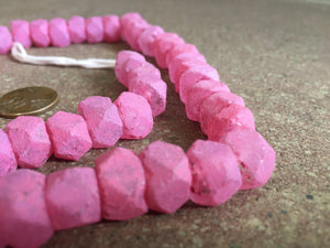 Hot Deal: Painted Pink Faceted Java Recycled Glass Beads - The Bead Chest