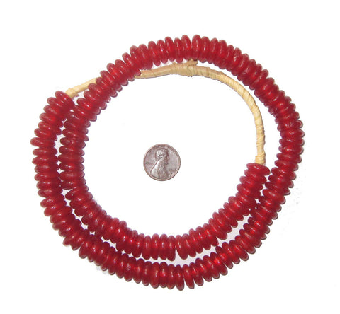 Red Rondelle Recycled Glass Beads - The Bead Chest