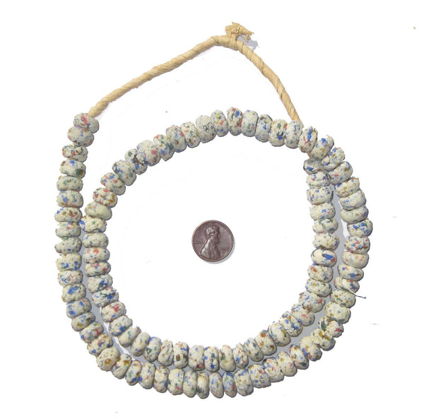 White Mosaic Rondelle Recycled Glass Beads (Extra Long)