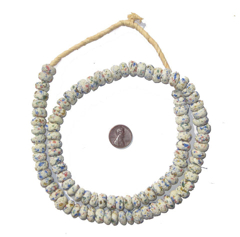 White Mosaic Rondelle Recycled Glass Beads (Extra Long) - The Bead Chest