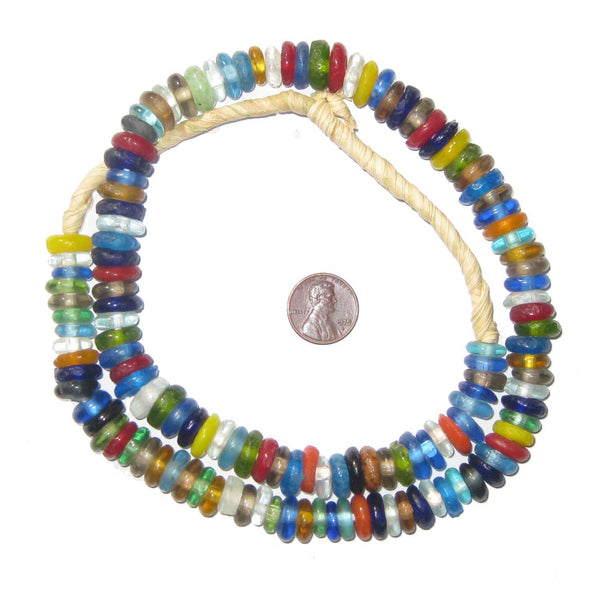 Mixed Rondelle Recycled Glass Beads